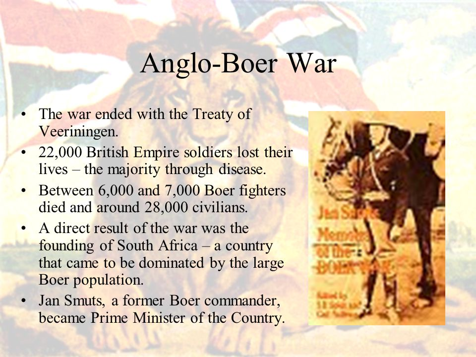 Anglo-Boer War The war ended with the Treaty of Veeriningen.