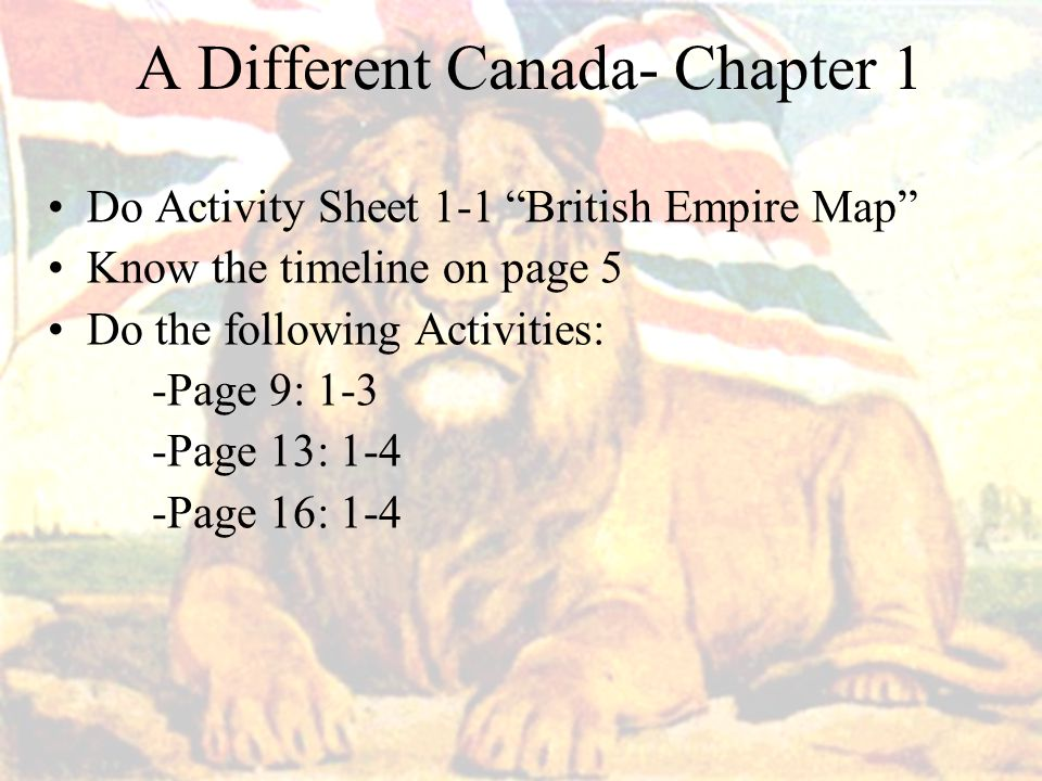 A Different Canada- Chapter 1