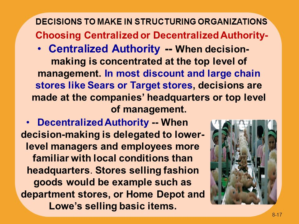 DECISIONS TO MAKE IN STRUCTURING ORGANIZATIONS