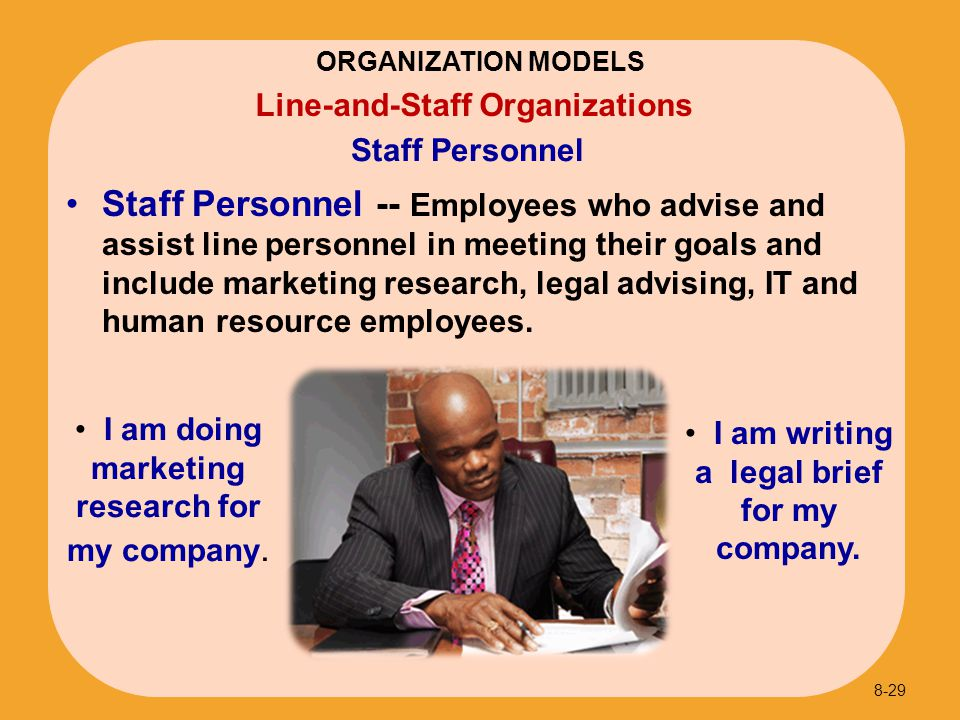 ORGANIZATION MODELS Staff Personnel. Line-and-Staff Organizations.