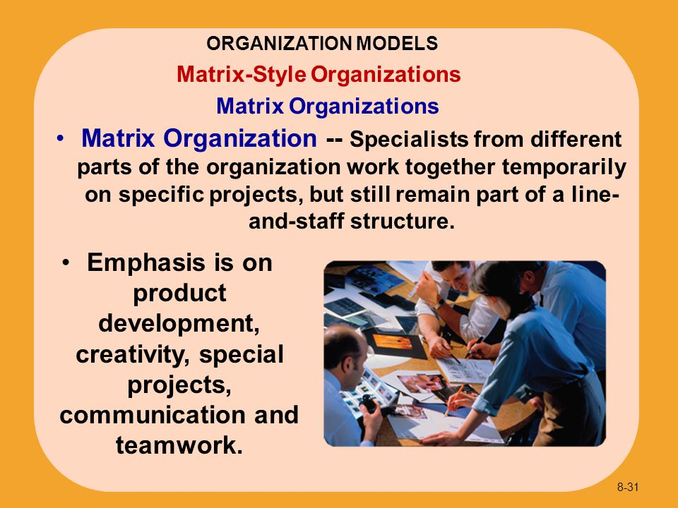 ORGANIZATION MODELS Matrix Organizations. Matrix-Style Organizations.