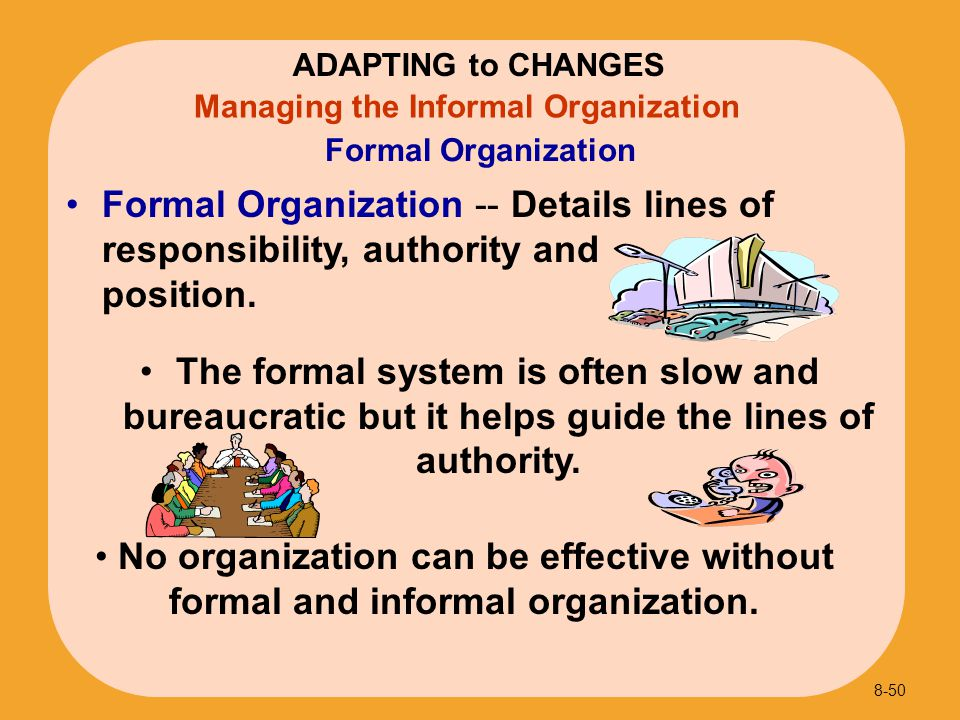 ADAPTING to CHANGES Formal Organization. Managing the Informal Organization.