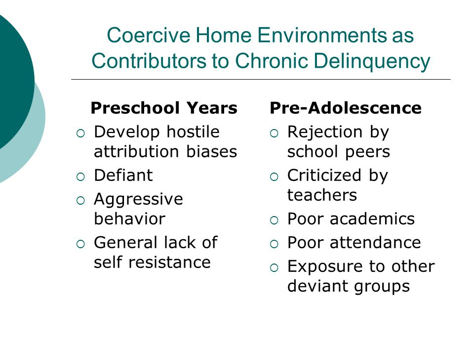 Coercive Home Environments as Contributors to Chronic Delinquency