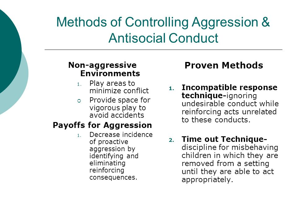 Methods of Controlling Aggression & Antisocial Conduct