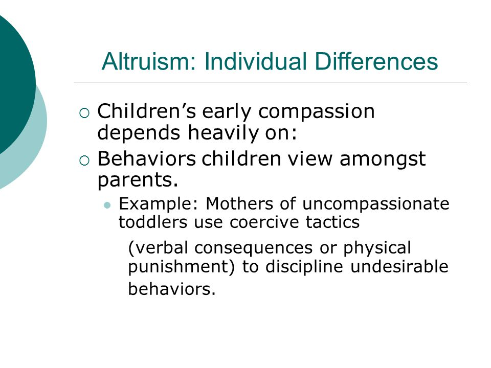 Altruism: Individual Differences