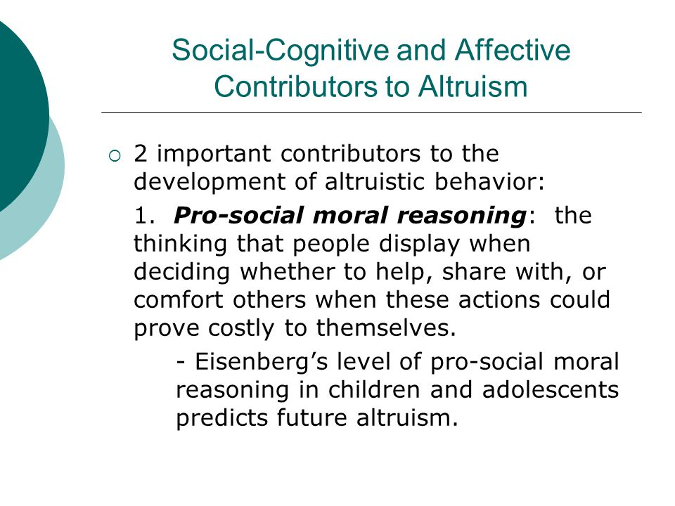 Social-Cognitive and Affective Contributors to Altruism