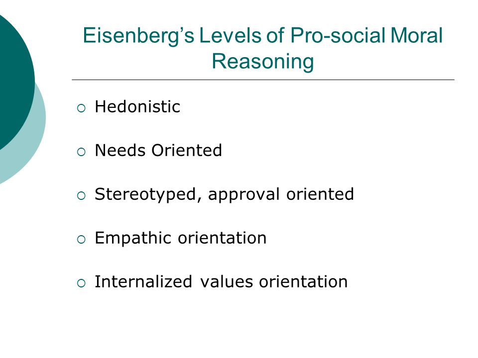 Eisenberg's Levels of Pro-social Moral Reasoning