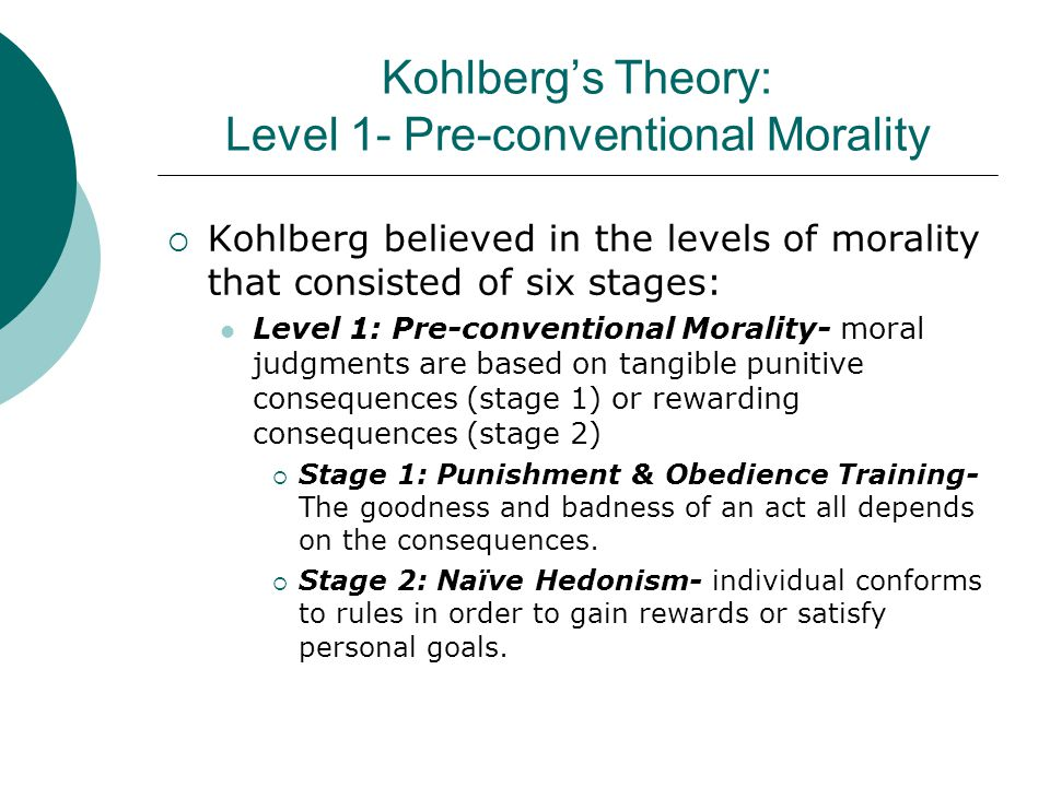 Kohlberg's Theory: Level 1- Pre-conventional Morality