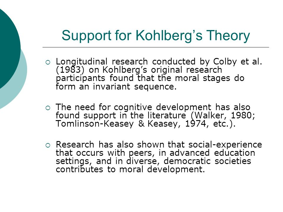 Support for Kohlberg's Theory