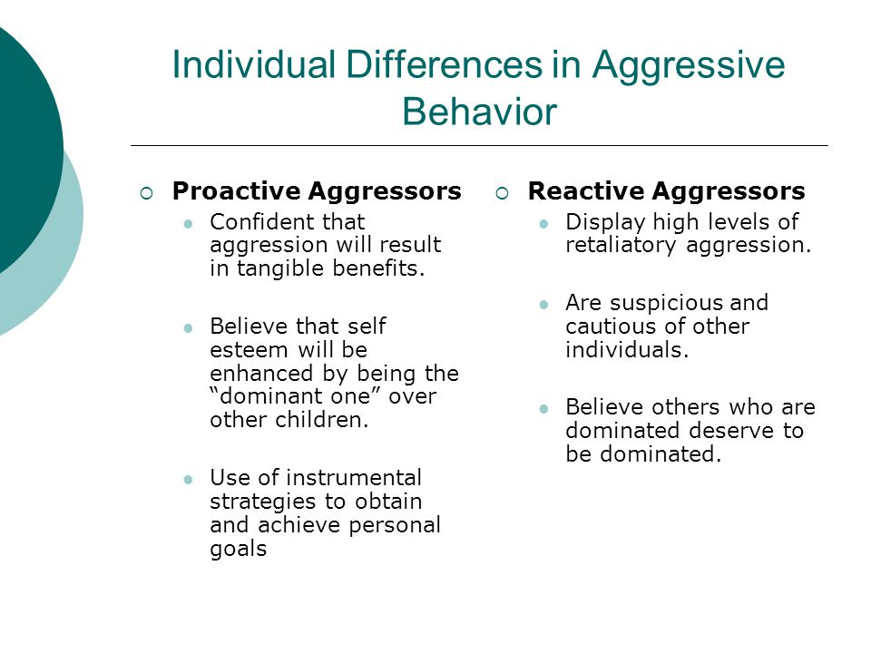 Individual Differences in Aggressive Behavior