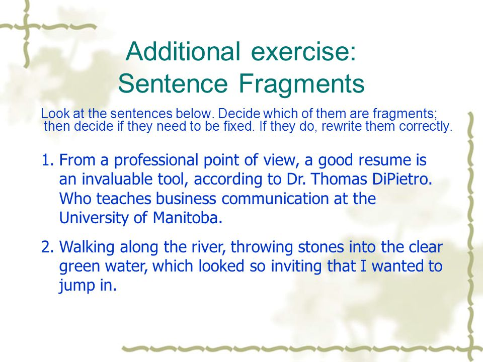 Additional exercise: Sentence Fragments