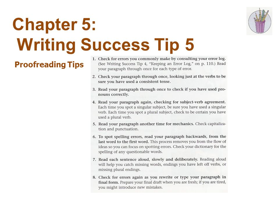 Chapter 5: Writing Success Tip 5