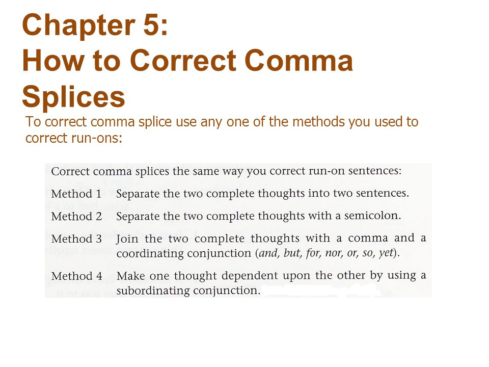 Chapter 5: How to Correct Comma Splices