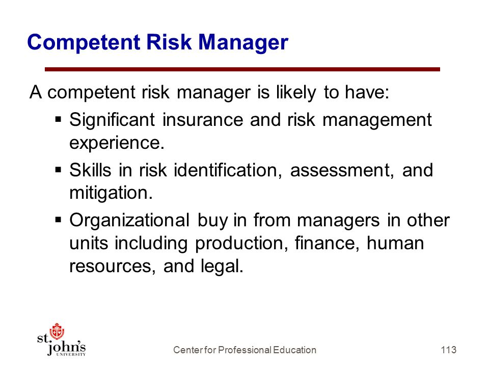 Competent Risk Manager