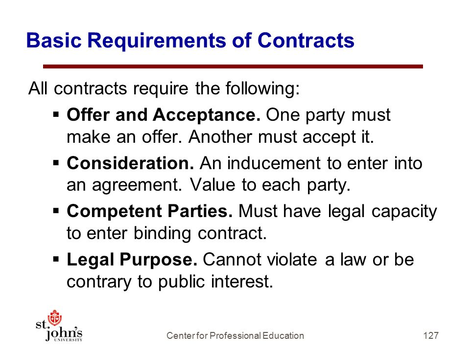 Basic Requirements of Contracts