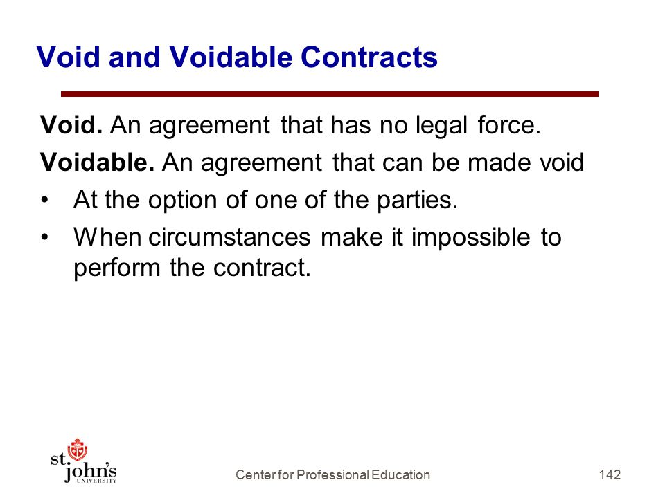 Void and Voidable Contracts