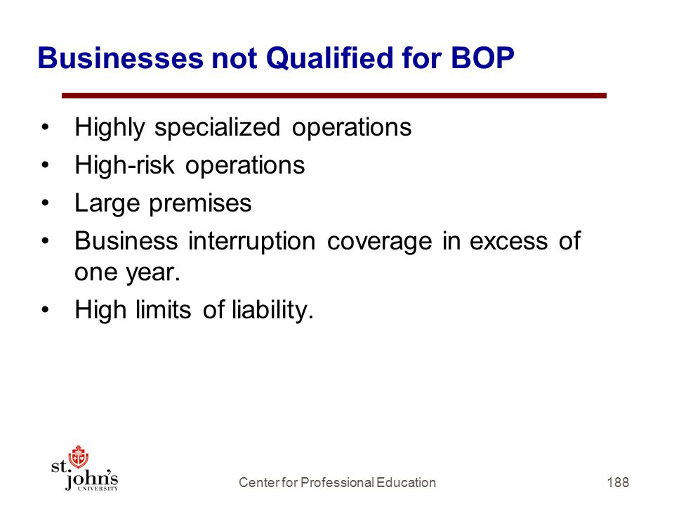 Businesses not Qualified for BOP