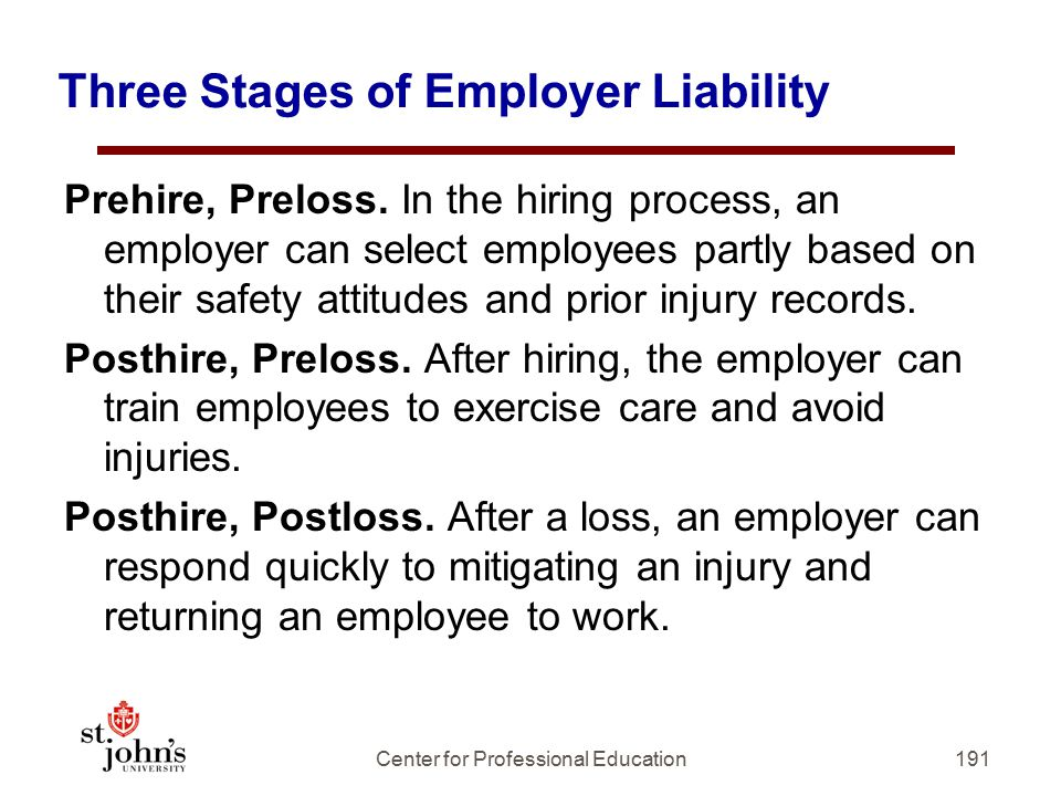 Three Stages of Employer Liability