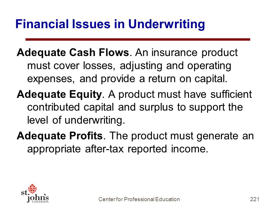 Financial Issues in Underwriting
