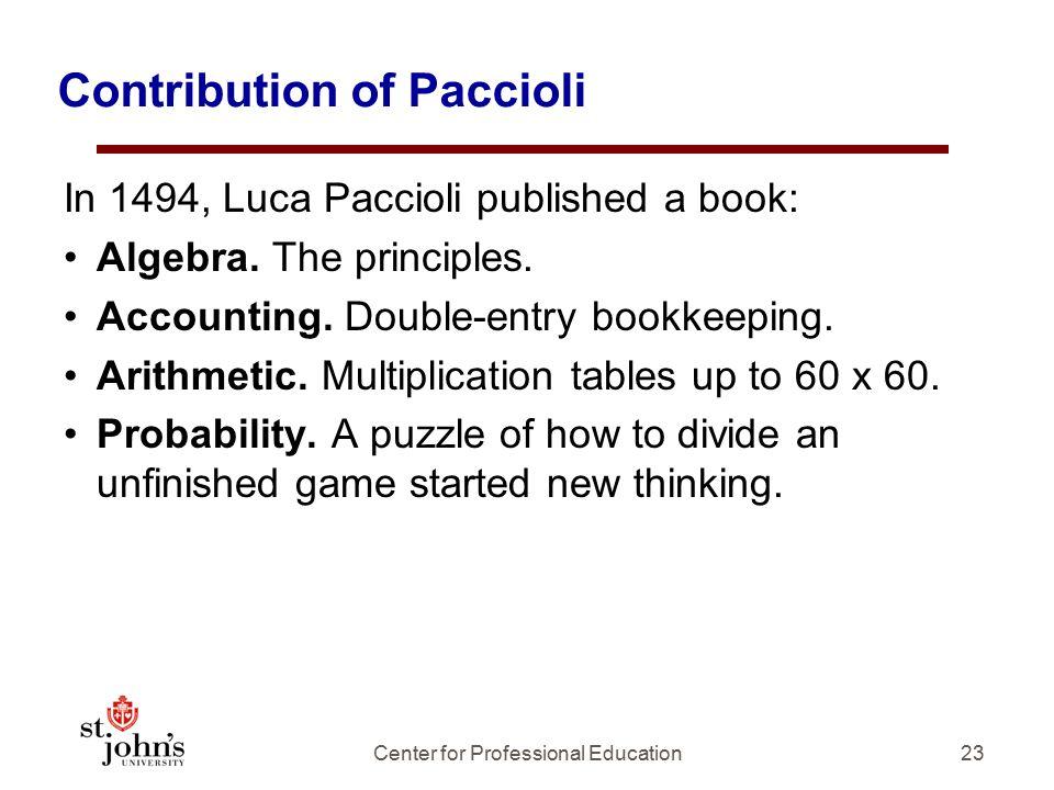 Contribution of Paccioli