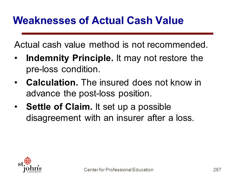 Weaknesses of Actual Cash Value