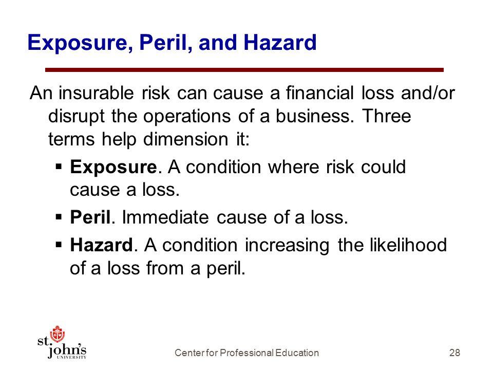 Exposure, Peril, and Hazard