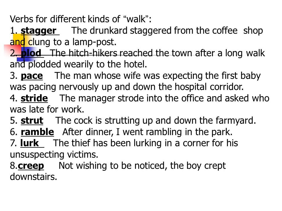Verbs for different kinds of walk :