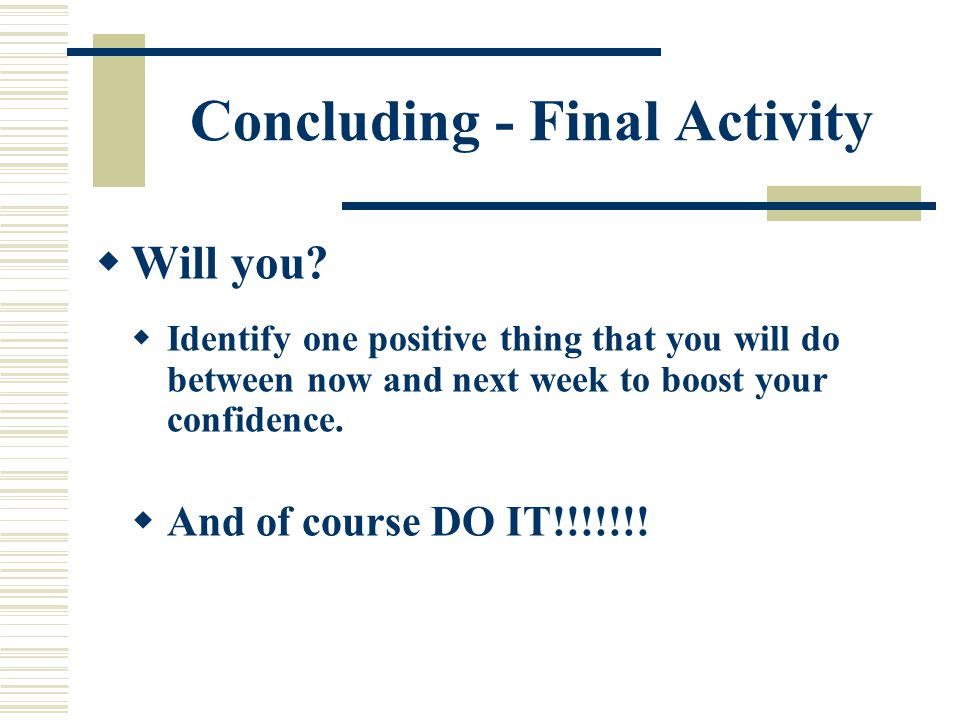 Concluding - Final Activity