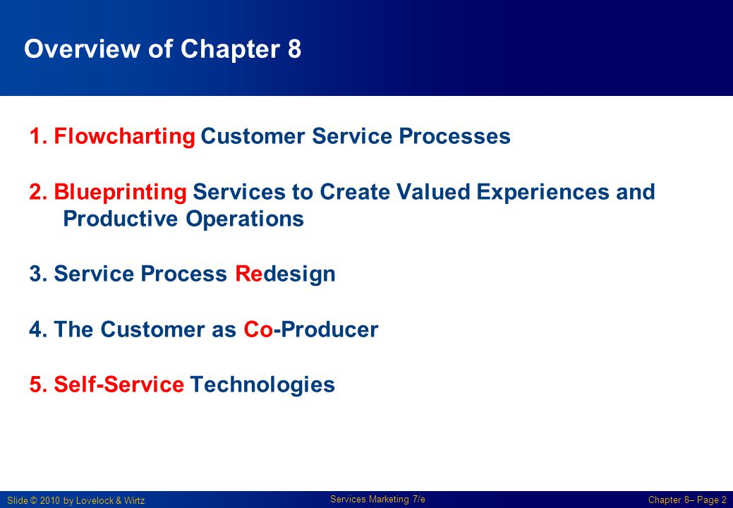 Overview of Chapter 8 1. Flowcharting Customer Service Processes