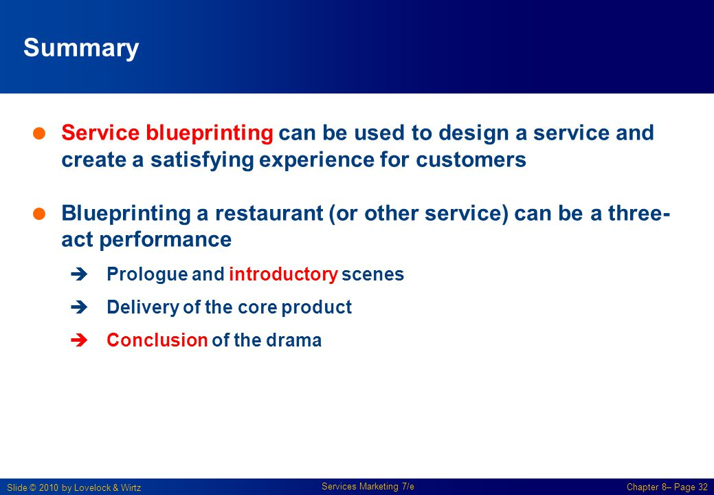 Summary Service blueprinting can be used to design a service and create a satisfying experience for customers.