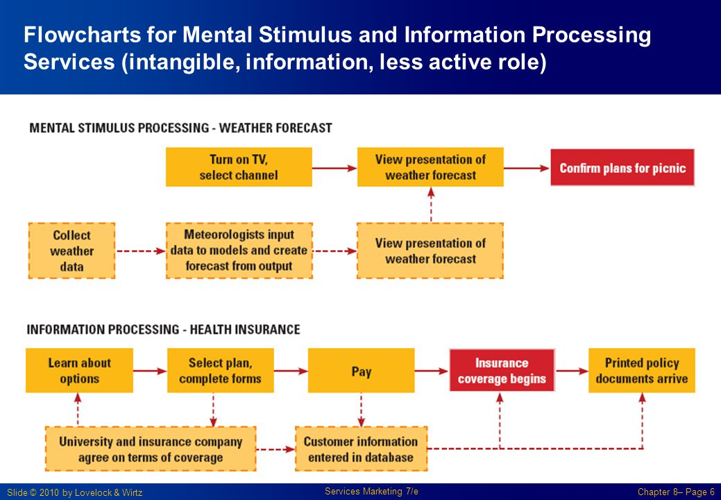Flowcharts for Mental Stimulus and Information Processing Services (intangible, information, less active role)