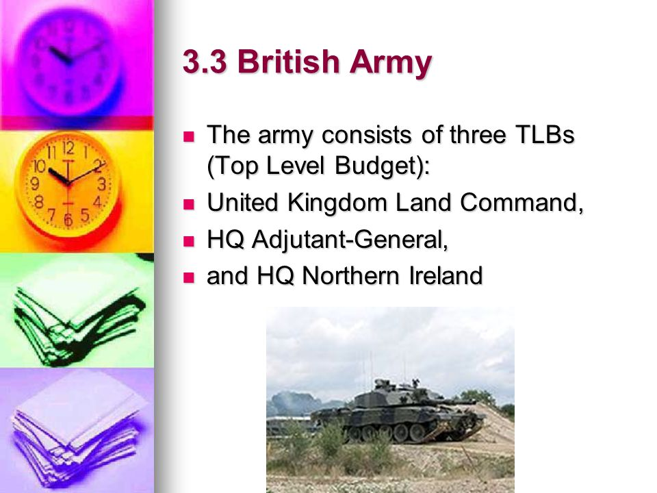3.3 British Army The army consists of three TLBs (Top Level Budget):