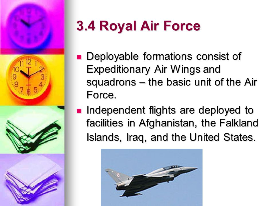 3.4 Royal Air Force Deployable formations consist of Expeditionary Air Wings and squadrons – the basic unit of the Air Force.