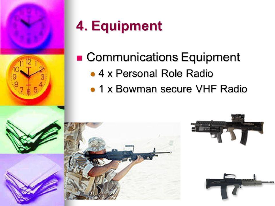 4. Equipment Communications Equipment 4 x Personal Role Radio