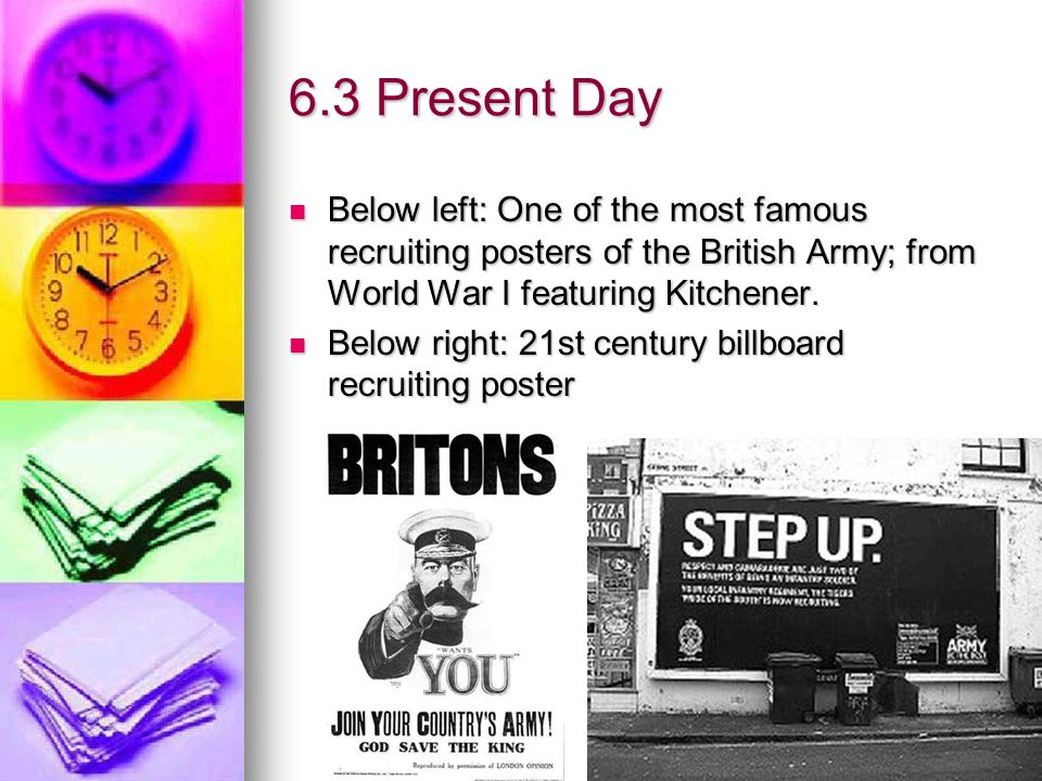 6.3 Present Day Below left: One of the most famous recruiting posters of the British Army; from World War I featuring Kitchener.