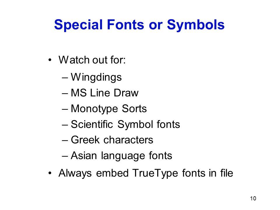 Special Fonts or Symbols
