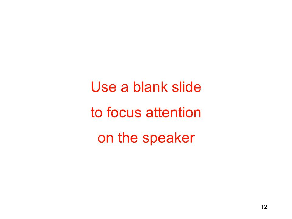Use a blank slide to focus attention on the speaker