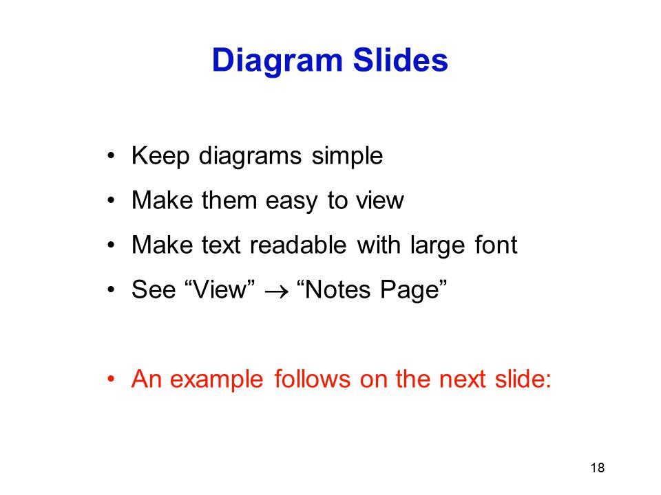 Diagram Slides Keep diagrams simple Make them easy to view