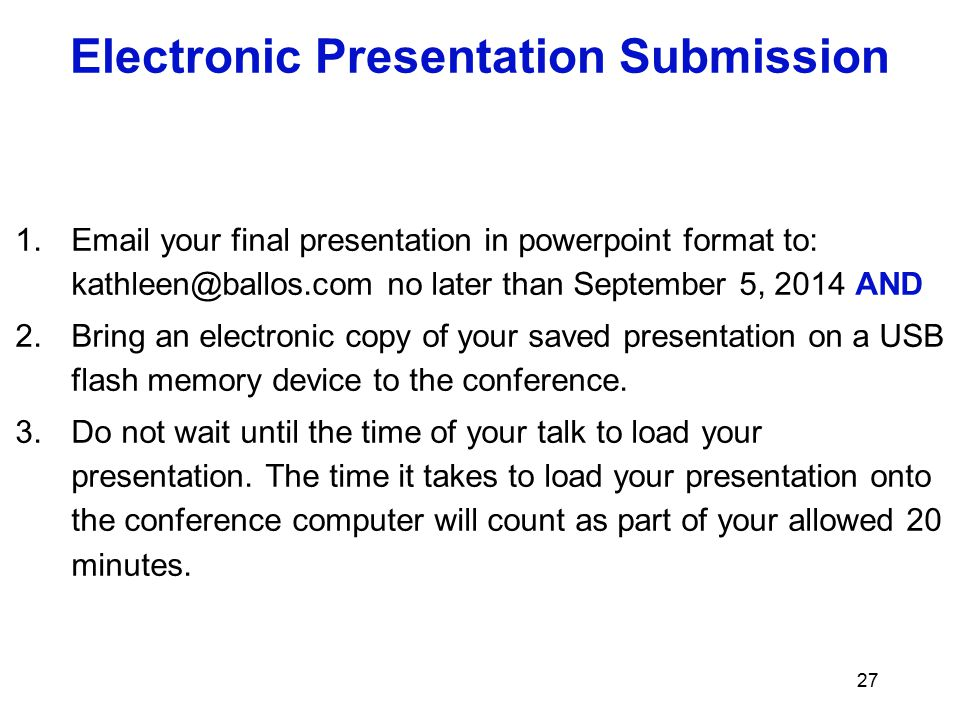 Electronic Presentation Submission