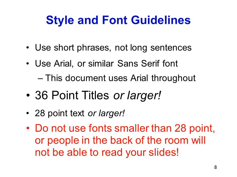 Style and Font Guidelines