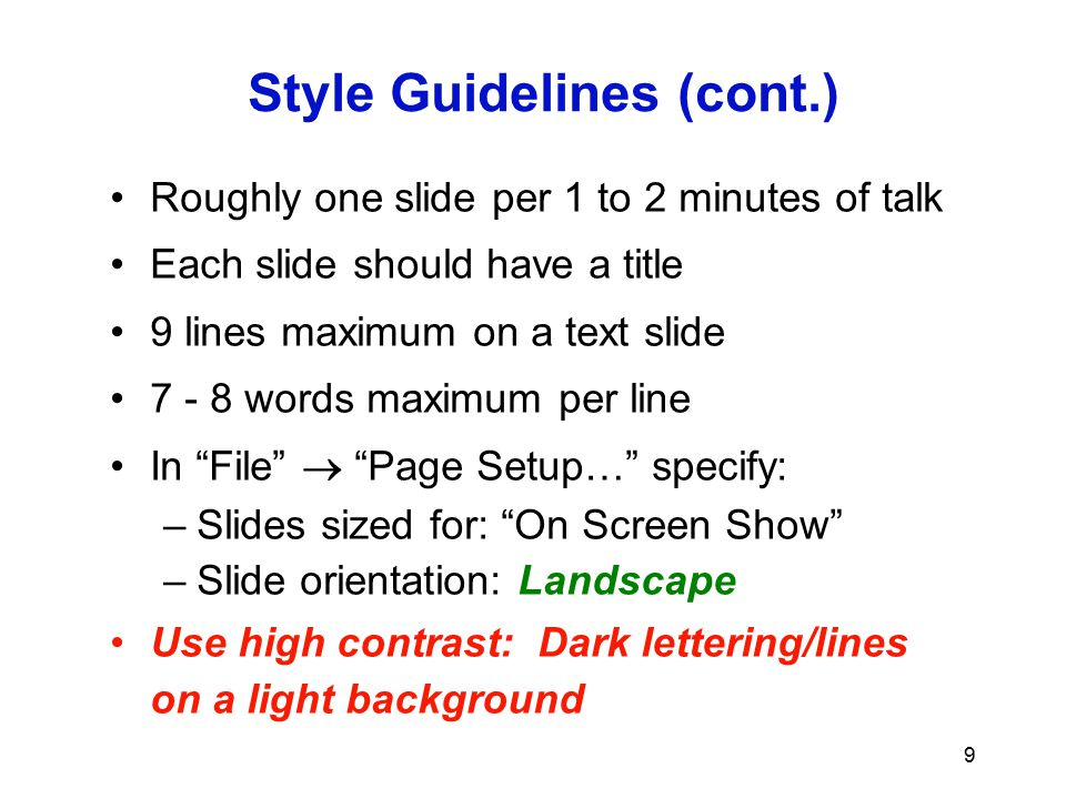 Style Guidelines (cont.)