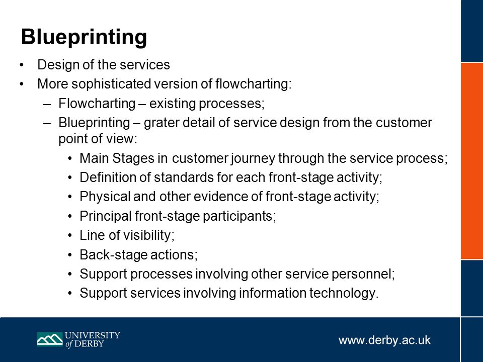 Blueprinting Design of the services