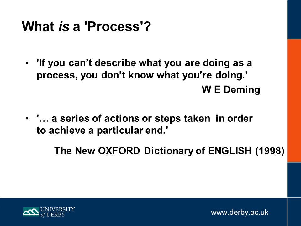 What is a Process If you can't describe what you are doing as a process, you don't know what you're doing.