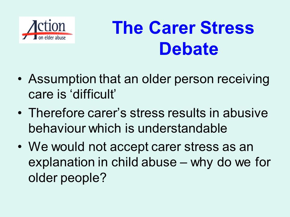 The Carer Stress Debate