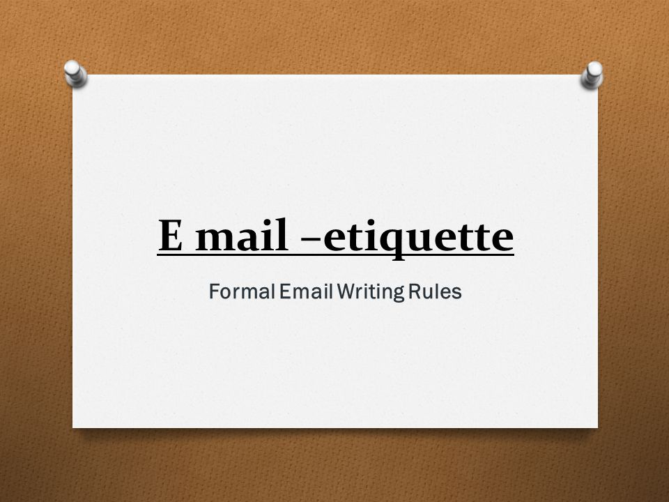 Formal Email Writing Rules