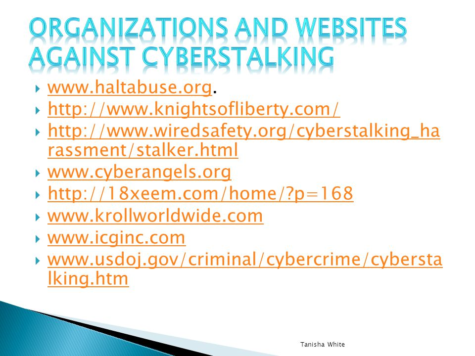 Organizations and websites against Cyberstalking