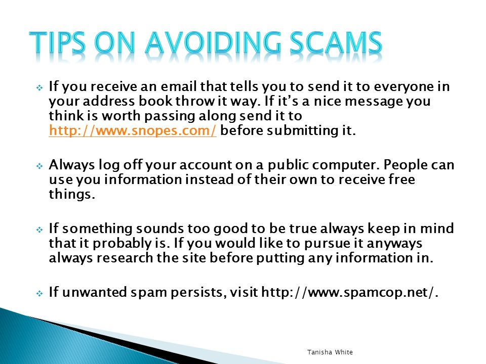 Tips on avoiding scams