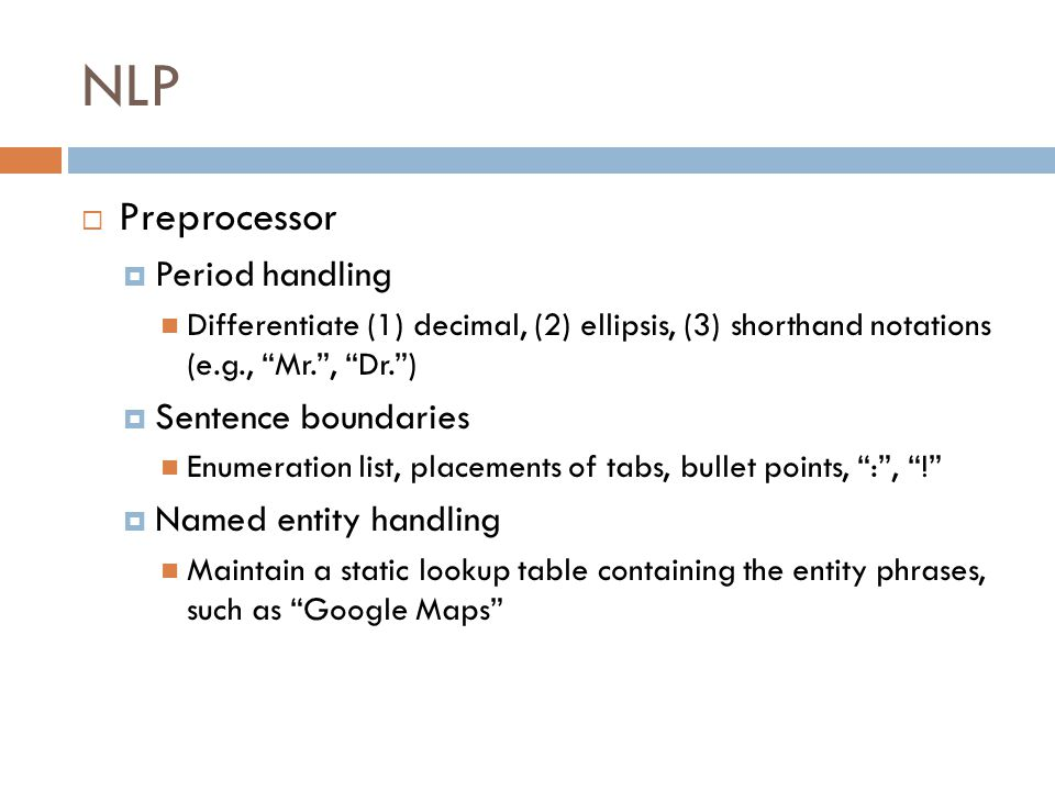 NLP Preprocessor Period handling Sentence boundaries