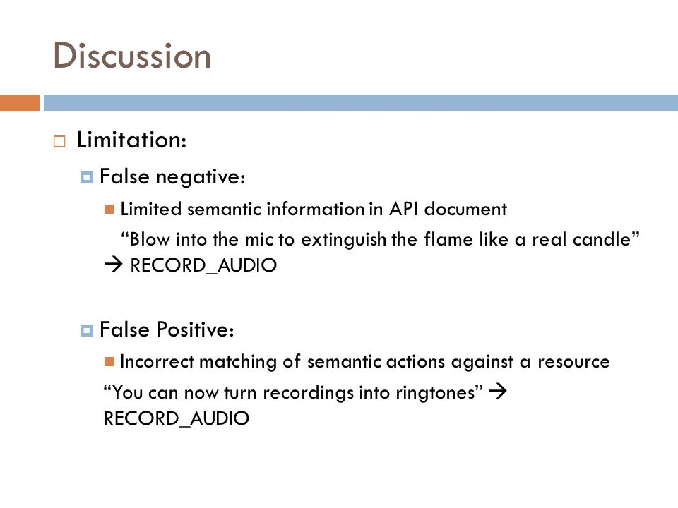 Discussion Limitation: False negative: False Positive: