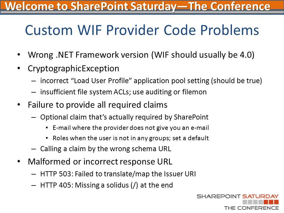 Custom WIF Provider Code Problems